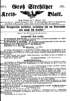 Groß-Strehlitzer Kreisblatt vom 05.02.1915