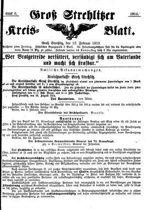 Groß-Strehlitzer Kreisblatt vom 12.02.1915