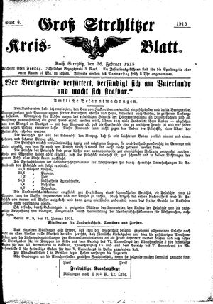 Groß-Strehlitzer Kreisblatt vom 26.02.1915