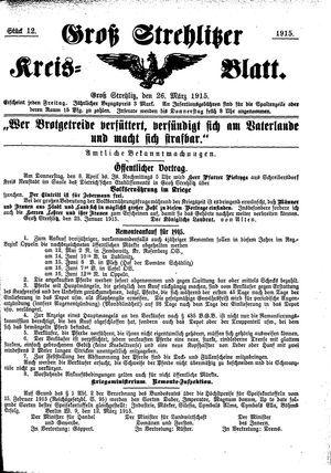 Groß-Strehlitzer Kreisblatt vom 26.03.1915