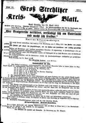 Groß-Strehlitzer Kreisblatt vom 23.04.1915