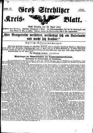 Groß-Strehlitzer Kreisblatt vom 30.04.1915