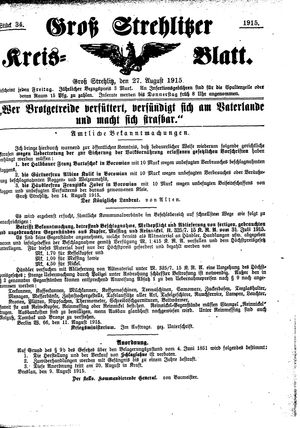 Groß-Strehlitzer Kreisblatt vom 27.08.1915