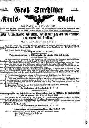 Groß-Strehlitzer Kreisblatt vom 03.09.1915