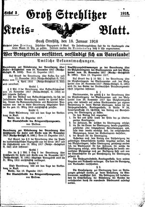Groß-Strehlitzer Kreisblatt vom 18.01.1918