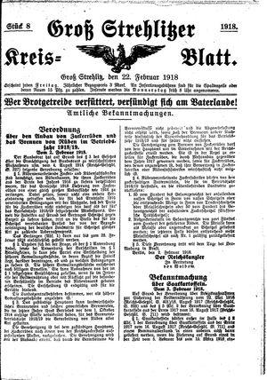 Groß-Strehlitzer Kreisblatt vom 22.02.1918