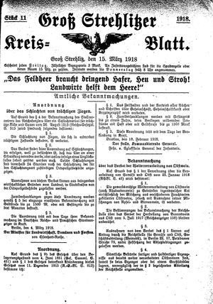 Groß-Strehlitzer Kreisblatt vom 15.03.1918