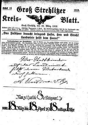 Groß-Strehlitzer Kreisblatt vom 22.03.1918