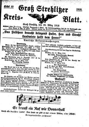 Groß-Strehlitzer Kreisblatt vom 29.03.1918