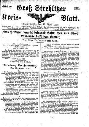 Groß-Strehlitzer Kreisblatt vom 19.04.1918