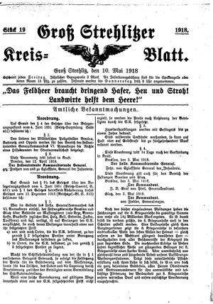 Groß-Strehlitzer Kreisblatt on May 10, 1918