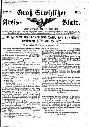 Groß-Strehlitzer Kreisblatt vom 17.05.1918
