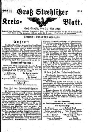 Groß-Strehlitzer Kreisblatt on May 24, 1918