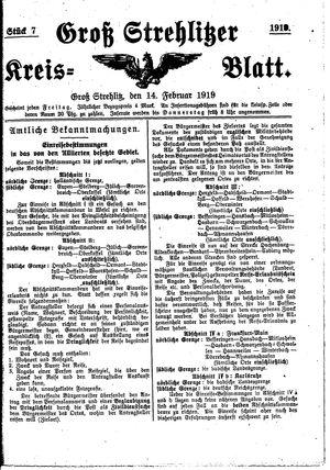 Groß-Strehlitzer Kreisblatt vom 14.02.1919