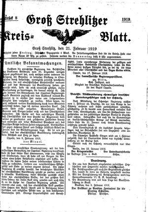 Groß-Strehlitzer Kreisblatt vom 21.02.1919