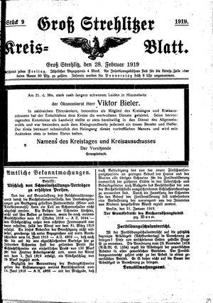 Groß-Strehlitzer Kreisblatt vom 28.02.1919