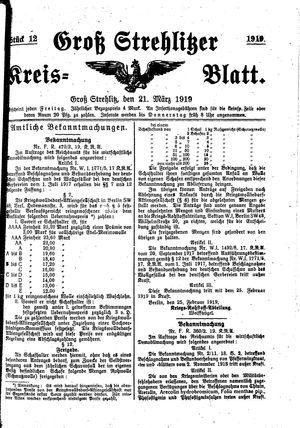 Groß-Strehlitzer Kreisblatt vom 21.03.1919