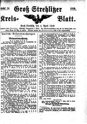 Groß-Strehlitzer Kreisblatt on Apr 4, 1919