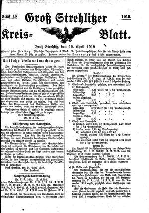 Groß-Strehlitzer Kreisblatt vom 18.04.1919