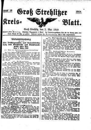 Groß-Strehlitzer Kreisblatt on May 2, 1919