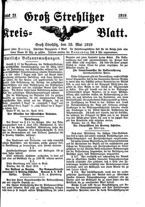 Groß-Strehlitzer Kreisblatt vom 23.05.1919