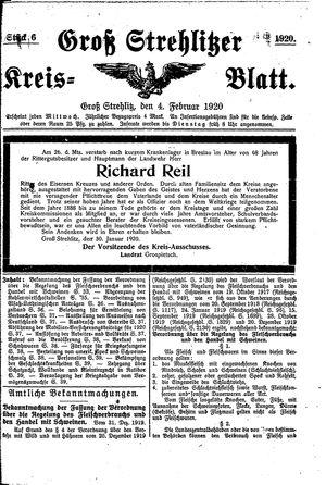 Groß-Strehlitzer Kreisblatt vom 04.02.1920
