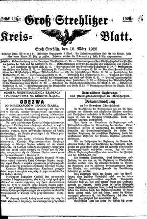 Groß-Strehlitzer Kreisblatt vom 10.03.1920