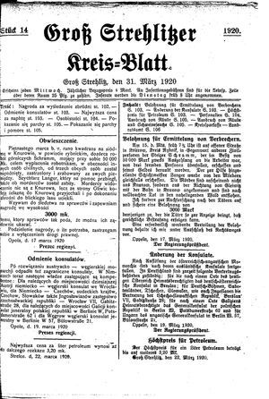 Groß-Strehlitzer Kreisblatt vom 31.03.1920