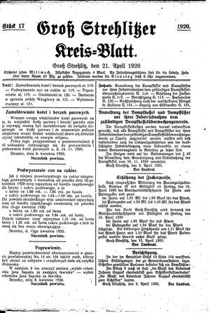 Groß-Strehlitzer Kreisblatt vom 21.04.1920