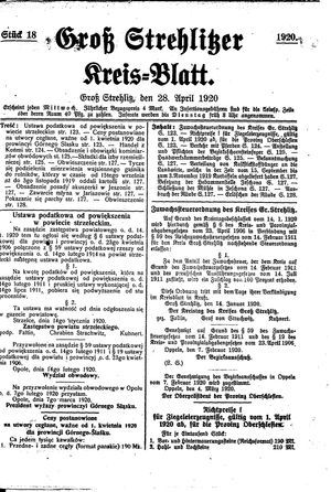 Groß-Strehlitzer Kreisblatt vom 28.04.1920