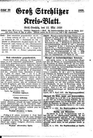 Groß-Strehlitzer Kreisblatt on May 12, 1920