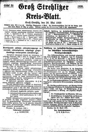 Groß-Strehlitzer Kreisblatt vom 26.05.1920