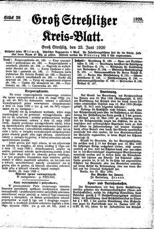 Groß-Strehlitzer Kreisblatt vom 23.06.1920