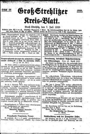 Groß-Strehlitzer Kreisblatt vom 07.07.1920