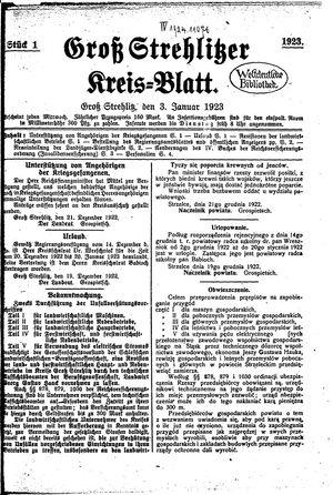 Groß-Strehlitzer Kreisblatt on Jan 3, 1923