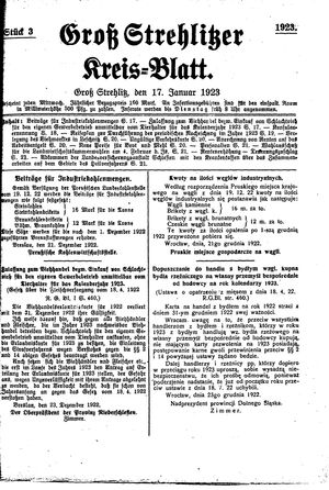 Groß-Strehlitzer Kreisblatt vom 17.01.1923