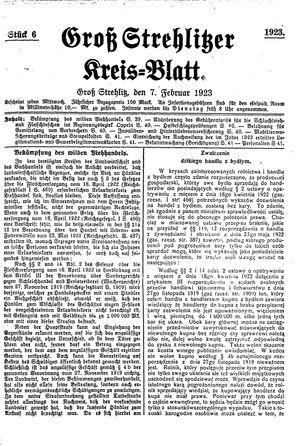 Groß-Strehlitzer Kreisblatt vom 07.02.1923