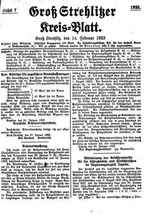 Groß-Strehlitzer Kreisblatt vom 14.02.1923