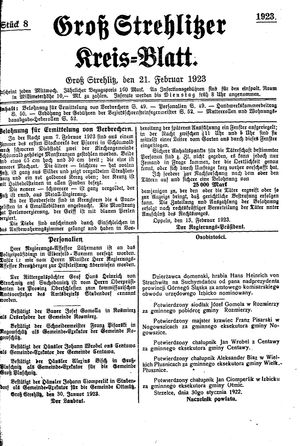 Groß-Strehlitzer Kreisblatt vom 21.02.1923