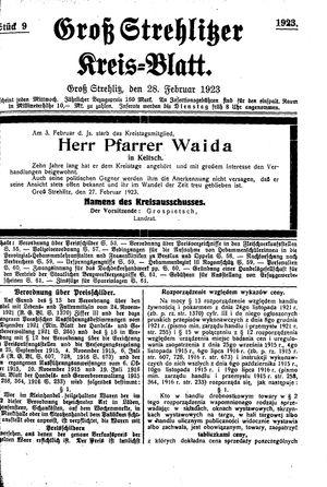 Groß-Strehlitzer Kreisblatt vom 28.02.1923