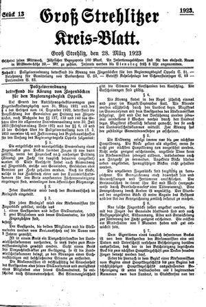 Groß-Strehlitzer Kreisblatt vom 28.03.1923