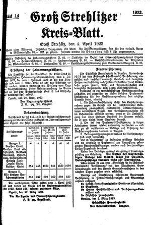 Groß-Strehlitzer Kreisblatt vom 04.04.1923