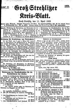 Groß-Strehlitzer Kreisblatt vom 11.04.1923