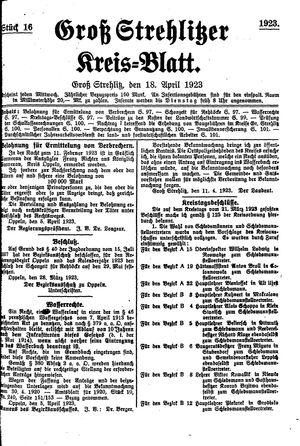 Groß-Strehlitzer Kreisblatt vom 18.04.1923