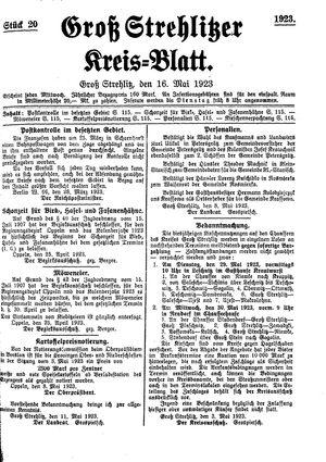 Groß-Strehlitzer Kreisblatt vom 16.05.1923