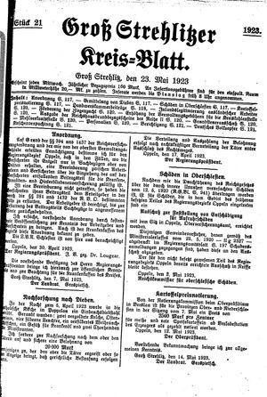 Groß-Strehlitzer Kreisblatt vom 23.05.1923