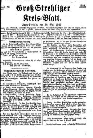 Groß-Strehlitzer Kreisblatt on May 30, 1923