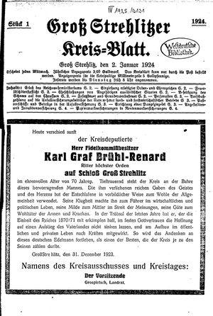 Groß-Strehlitzer Kreisblatt vom 02.01.1924
