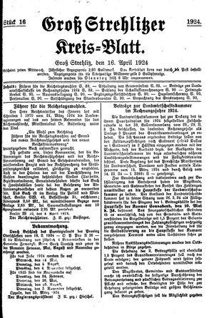 Groß-Strehlitzer Kreisblatt vom 16.04.1924