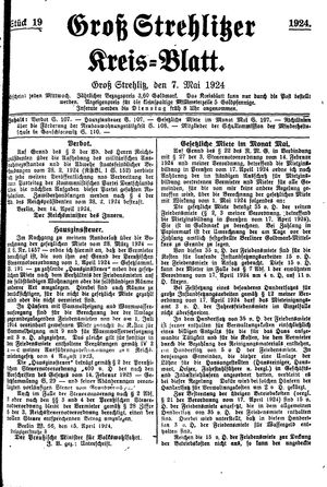Groß-Strehlitzer Kreisblatt vom 07.05.1924